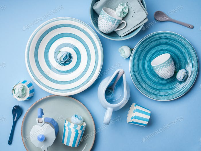 Blue pastel ceramic tableware crockery
