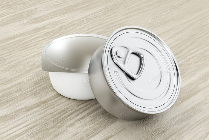 Two tin cans on wood background