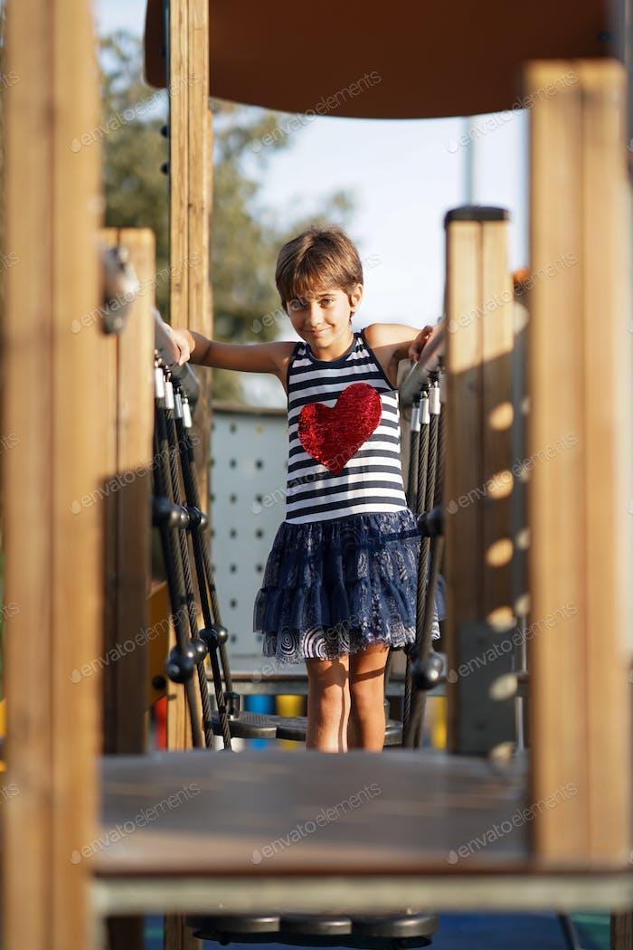 Little girl, eight years old, having fun outdoors