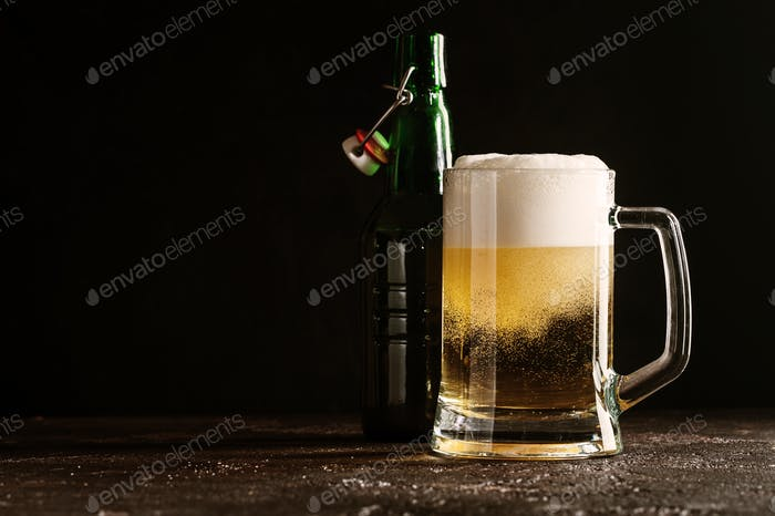Glass mug of light beer