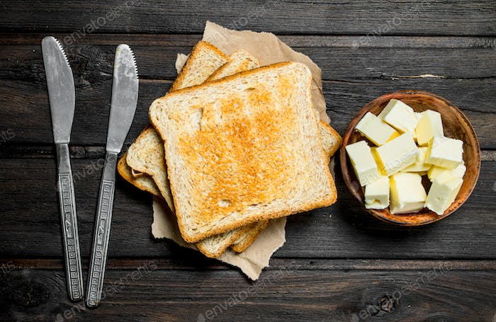 Toasted bread and butter.