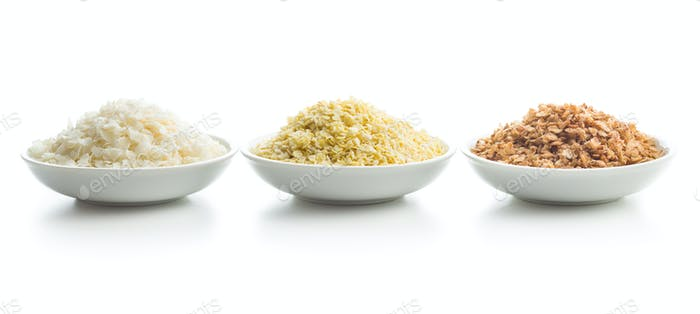 Buckwheat, millet and rice flakes.
