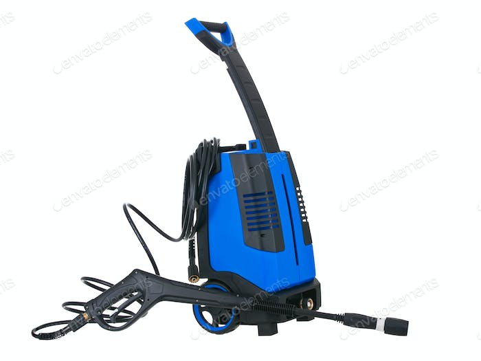 Blue pressure portable washer with hose on white background