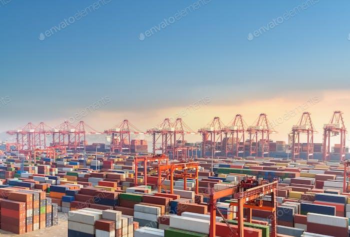 Shanghai Containerterminal in der Dämmerung