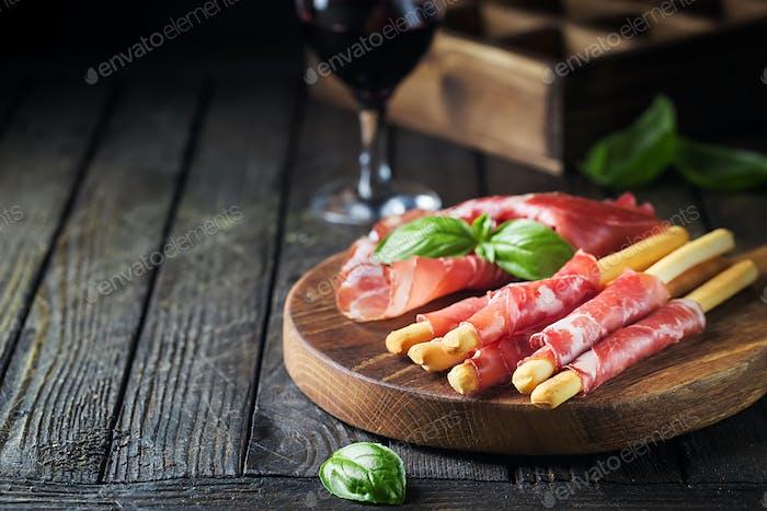 Grissini with prosciutto