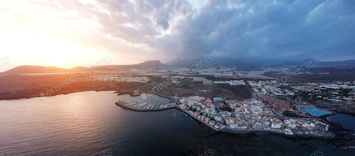 View from the height of the city on the Atlantic coast. Tenerife