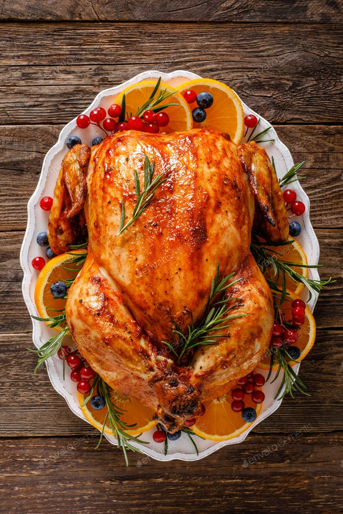Christmas turkey. Traditional festive food for Christmas or Thanksgiving