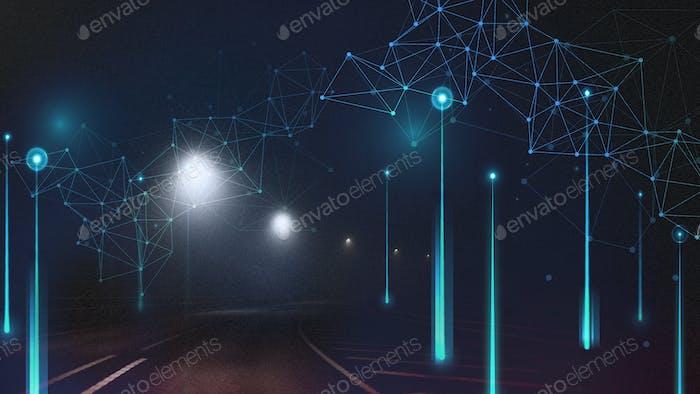 Elemento digital abstracto en el camino