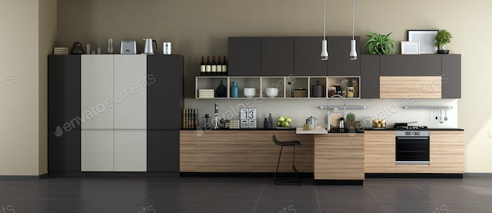 Modern kitchen with full accessories