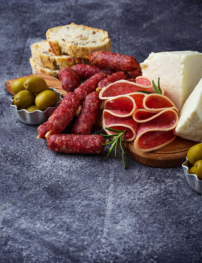 Selection of Italian appetizer. Wine snack set.