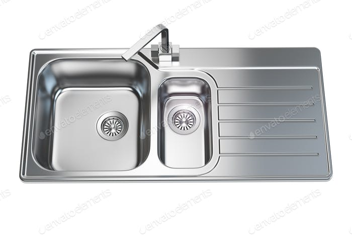 Kitchen sink isolated on white background.