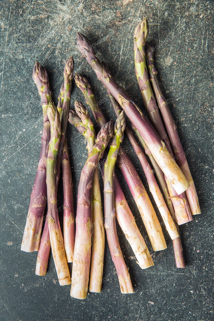 Fresh purple asparagus.