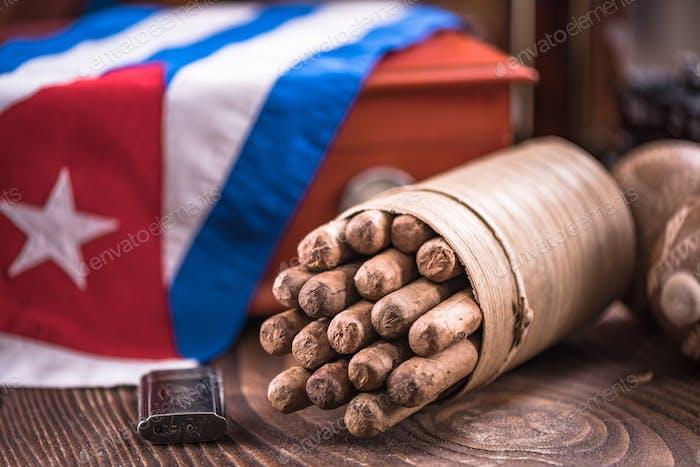 Bunch of handmade Cuban cigars