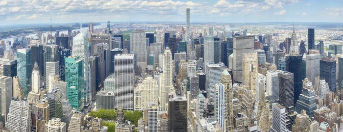 Aerial panoramic picture of New York City skyline.