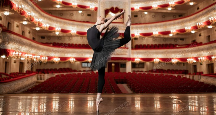 Young Ballerina dancing on the stage of amazing theatre.