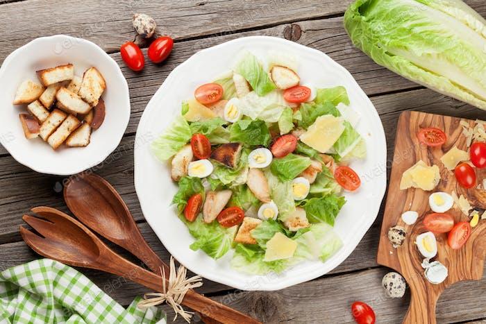 Fresh healthy salad cooking