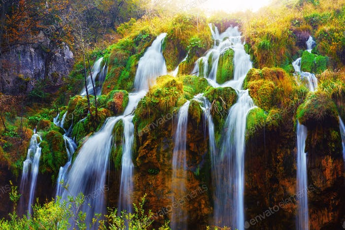 Water flows of amazing waterfall in Plitvice lakes