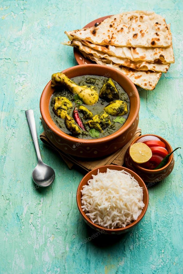 Palak oder Spinat Huhn oder Murg Saagwala ist ein indisches nicht-vegetarisches Rezept