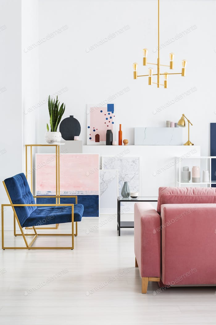 Vertical view of pink velvet couch and blue armchair in living r