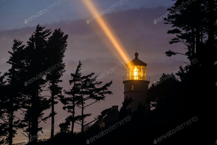 Heceta Head Lighthouse at night, built in 1892