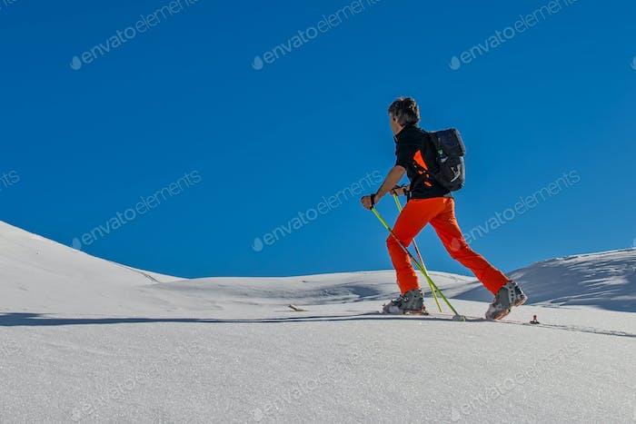 Ski alpinism uphill