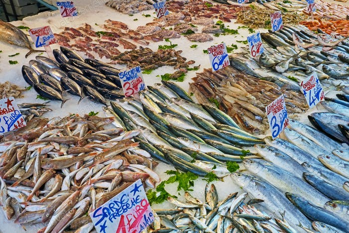Great selection of fish and seafood