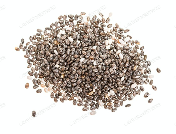 top view of pile of Chia seeds isolated on white