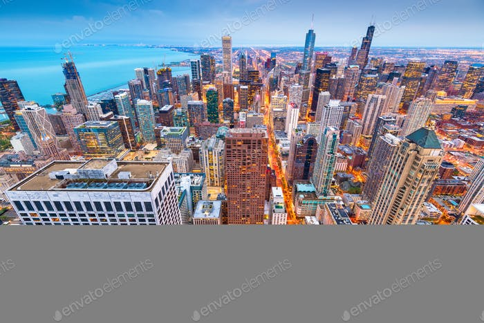 Chicago, Illinois, USA Aerial Cityscape