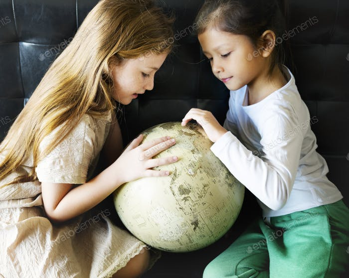 Girl Friends Global World Planet Learning Unity Concept