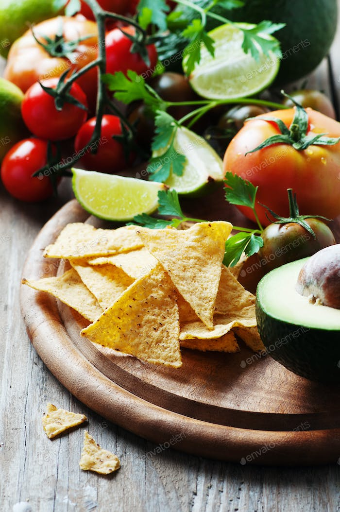 Concept of mexican food with raw vegetables