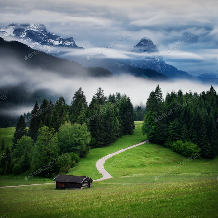 Rainy Wetterstein mountain at Bavarian Alps