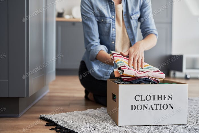 Boxes ready  for clothes donation