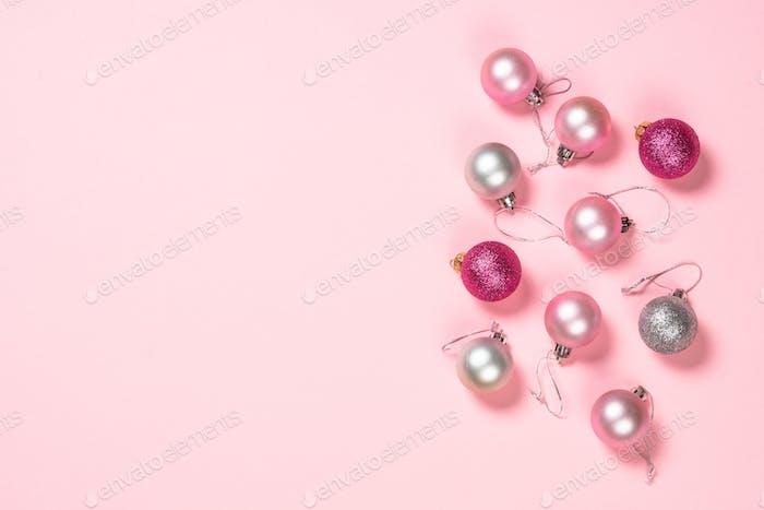 Weihnachten flach lag Hintergrund auf rosa
