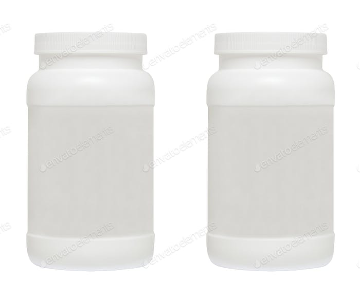 White medical containers on white background