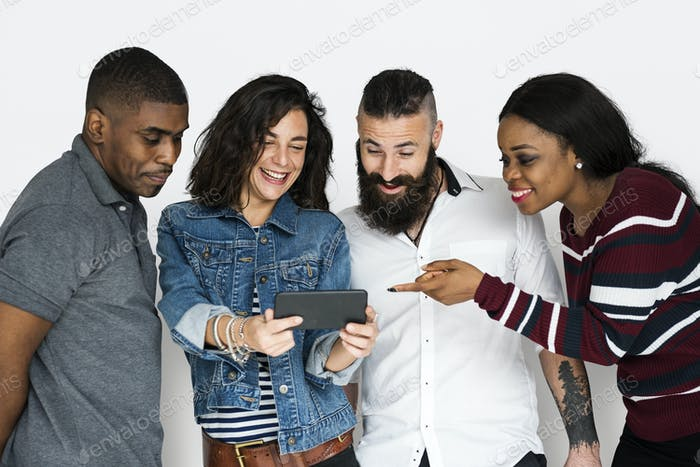 Group of Friends Technology Devices