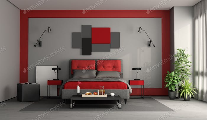Red and gray modern master bedroom
