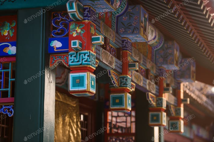 Street of Old chinese asian city on a sunset at hongluo temple