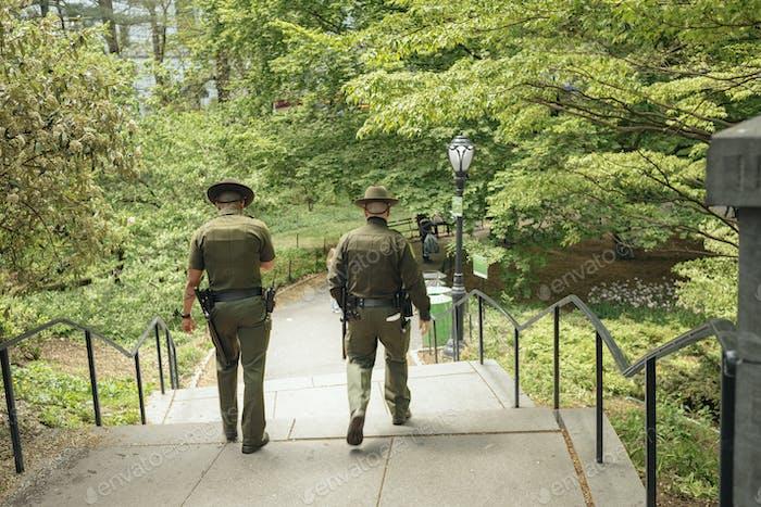 Security staff in public park