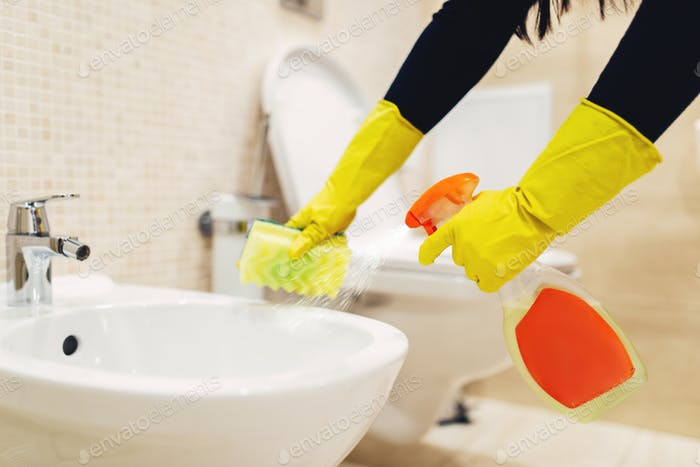 Maid cleans the bidet with a cleaning spray