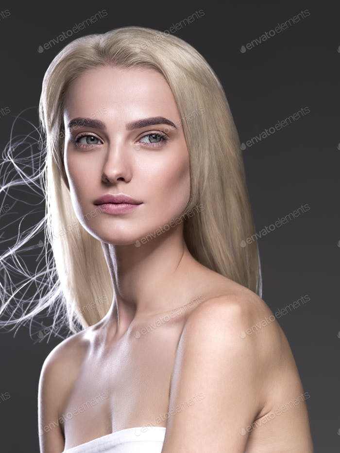 Beautiful long perfect hair blonde  woman healthy skin fashion make up natural hairstyle