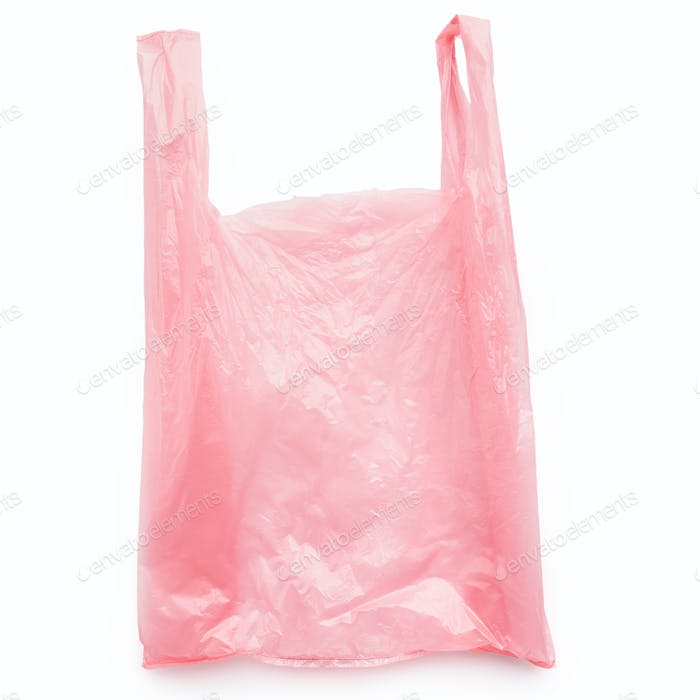 Pink plastic bag on white