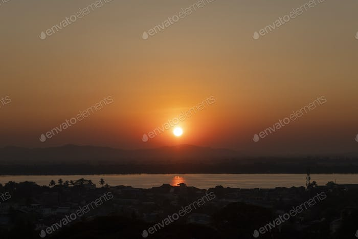 Sunset over the River Thanlwin at Mawlamyine