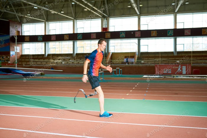 Handicapped Sportsman Running on Track