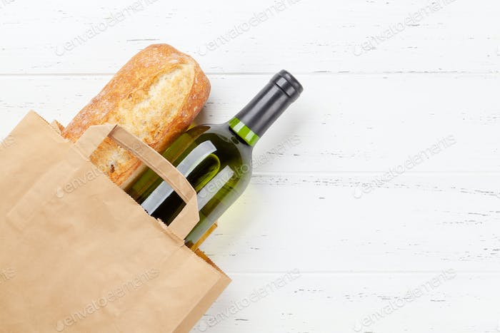 White wine and baguette
