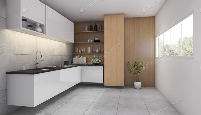 3d rendering contemporary wood kitchen with window