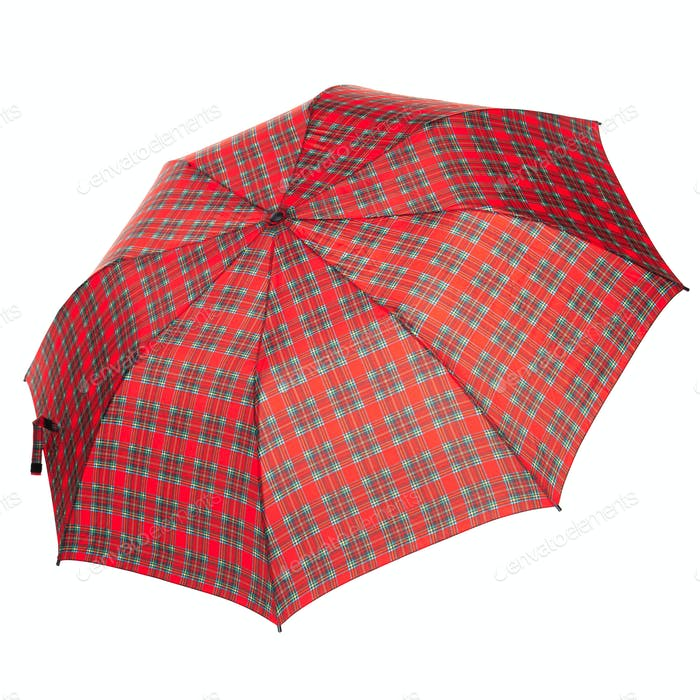 The checkered umbrella isolated against white background