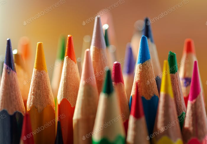 Close-up view of the sharpened colored pencils