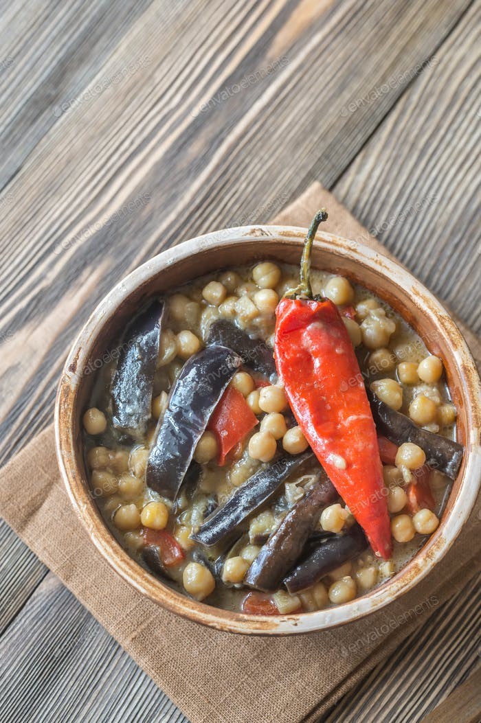 Eggplant and chickpea curry