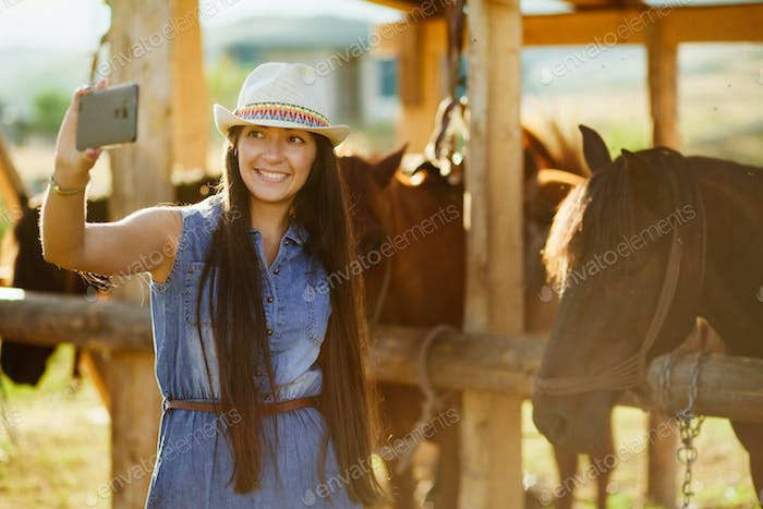 selfie photo with horse