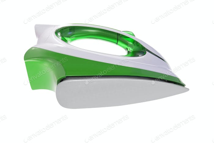 green iron on white background